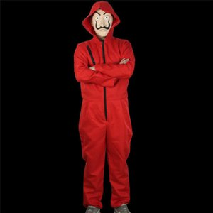 Mode Salvador Dali La Casa De Papel argent Heist Red Jumpsuit Masque cosplay costume Halloween Festival solide Jumpsuit
