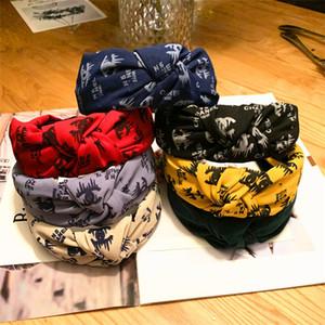Mode Bandeau Filles Vintage Knitting Twisted noueuse Lettre Bandeau larges bandes cheveux tête PORTER 7 couleurs