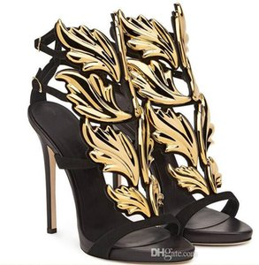 2017 Designer Flame metal leaf Wing High Heel Sandals Gold Nude Black Party Events Shoes Size 35 to 40 cs5