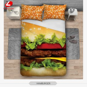 3pcs bedding set Trees 3D bed linens cat Bedclothes hamburger 3d bed set 156*201 duvet cover + 2pcs*50*60cm pillowcase cat dog T200706