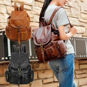 Women Vintage Leather Backpack Hook Shoulder Bag Ladies Casual Travel Knapsack Students Schoolbag Fashion Handbag Satchel Dark  Brown