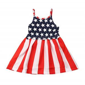 Bebek Kız Sling Elbise Çocuklar Çizgili Yıldız Sling Pileli Elbise Amerikan Bayrağı Bağımsızlık Ulusal Gün ABD 4 Temmuz Tekne Boyun Baskılı Etek