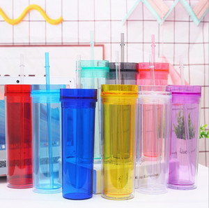 Acrílico vaso 16 oz vaso recto flaco taza del viaje Vasos de doble pared Claro vasos de plástico con tapa y paja