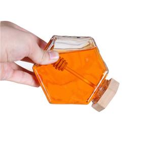 Vetro Miele vaso per 220ML / 380ml Mini Piccolo Honey Bottiglia Contenitore Pot Con Legno Miele Bastone Spoon
