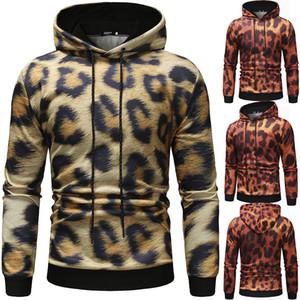 Diseñador capucha Cuello con capucha para hombre de la ropa de moda del estampado leopardo de Calle Sudaderas Casual Leopard sudaderas con capucha de los hombres capa de la chaqueta