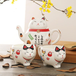 Afortunada linda del gato de porcelana japonesa del juego de té de cerámica creativa Maneki Neko con la taza de té Pot gato colador precioso Pluto Taza de la tetera