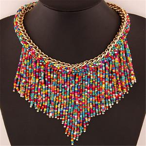 2019 Bohemian Colliers de mode pour femmes Bijoux Handwoven Collier sautoir pompon perles Colliers Déclaration Choker