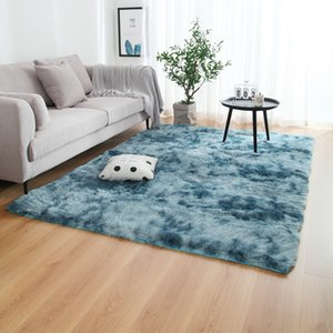 Modern Fashion European long hair fashion bedroom carpet bay window bedside mat washable personality blanket Gradient color living room rug