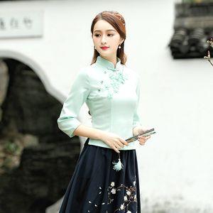 Mesdames vert cheongsam Chemisier style chinois antique Daily sept Restore manches Guzheng Vêtements qipao Shirt Tops Taille d'été plus