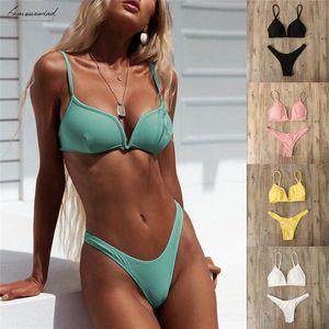 2020 Solid Women Bikini Set Sexy Summer Padded Swimming Clothes Holiday Sport Push Up Plunge V Bra Thong 2Pcs Beachwear Swimsuit