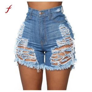 Casual 2020 Summer Denim Women Shorts High Waists Fur-lined Leg-openings Plus Size Sexy Frayed Hole Short Ripped Jeans #4