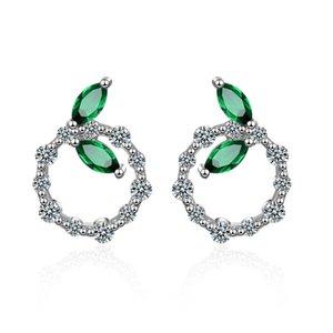 ED613 La version coréenne de l'incrustation de diamant vert laisse de simples boucles d'oreilles féminines littéraires rondes
