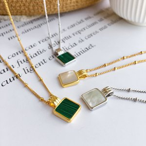 Square Shape Green Stone Pendant Necklace New Fashion Gold Color Shell Ornament Necklace Jewelry White Shell Jewelry Drop shipping