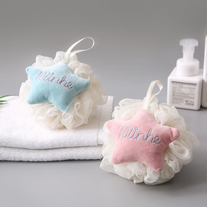 Bath Shower Loofah Sponge Pouf Body Cartoon Star Shape Colorful Pouf PE Material Soft Comfortable Bath