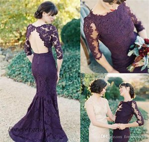 2019 New Modest Illusion Half Sleeves Evening Dress Mermaid Open Back Grape Lace Formal Wear Party Gown Custom Made Plus Size