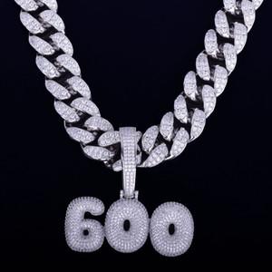Avec 20MM 16inch chaîne cubaine Nom personnalisé Bubble Lettre Colliers Pendentifs hommes Zircon Bijoux Hip Hop pour cadeau