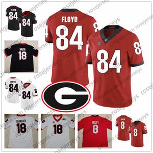 2019 Georgia Bulldogs # 56 Geno Atkins 57 Blair Walsh 77 Isaiah Wynn 84 Leonard Floyd Kariyer sonu Oyuncu Siyah Kırmızı Beyaz UGA Fooball Forması