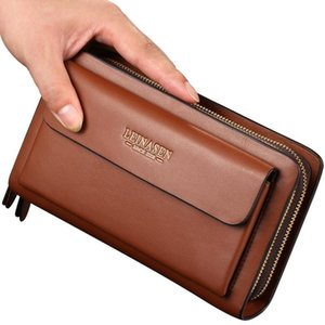 Leinasen Men's Bag Men's Hand's Hand Zipper PU Estilo Duplo Bag Hot Business Geasa