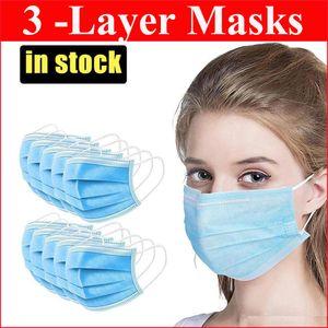 Descartável Máscara Facial 3 camadas Orelha-laço Boca Poeira Máscaras tampa 3-Ply não-tecidos máscara de poeira protetora respirável outdoor parte