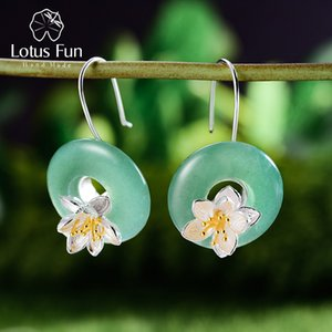 Lotus Fun real prata esterlina 925 Natural Pedra criativa Handmade Fine Jewelry Lotus Whispers brincos para mulheres Brincos MX190720