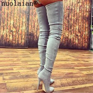 Nuevo muslo Botas altas para mujer 10.5 CM Zapatos de invierno de tacón alto Botas sobre la rodilla de cuero de mujer Botas Punk de señora Zapatos de vestir negros