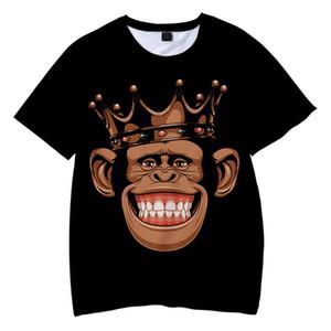 Gorilla mau engraçado Leisure Time Movimento Adulto Crianças Wear 3D Printing shirt camisetas