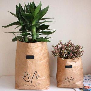 Waschbare Kraft Paper Bag Mini Sukkulente Pflanze Blumen Töpfe Abdeckung Organizer Multifunktionsspeicherbeutel Reuse Flowerpot