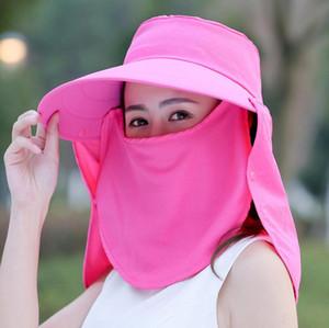 Mulheres Máscara aba larga Hat 5 cores Máscara completa Summer Proteção UV Neck Face Flap Cap Outdoor Sólidos Bucket Hat LJJO7648