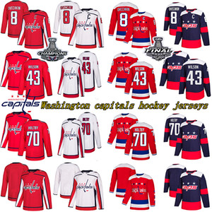 Stanley Cup Champions capitales de Washington 8 Alex Ovechkin 77 TJ OSHIE 70 Braden Holtby camisetas de hockey 43Tom Wilson 92 EVGENY KUZNETSO