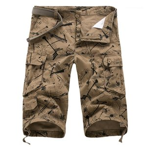 Pocket Fashion Loose Male Shorts Summer Casual Pants Mens Printed Cropped Overalls Designer