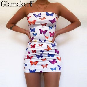 Glamaker Strapless Schmetterlingsdruck weiß, figurbetontes Kleid Frauen ärmellos Sommer kurze sexy Kleid Art und Weise backless Verein Minikleid T200526