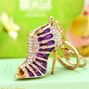 2020Crystal High Heel Shoes Keychain For Women Purse Pendant Car Key Ring Holder Rhinestone Cute Key Chains Circles Charm Bag Gifts