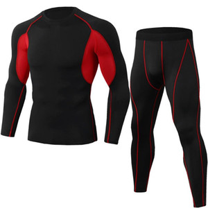 Men's Sportswear Basic Layer Thermal Underwear Bottoming Tights shirt Leggings Black Running Suit Compression Clothes
