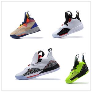 Nuovo Mens Jumpman XXXIII 33 Cemento scarpe da basket 33s Multicolors Tech Pack CNY addestratori di sport delle scarpe da tennis