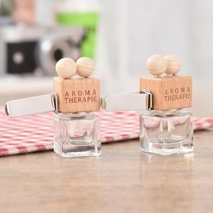 Con clip di legno 8ML auto Hanging profumo retrovisore ornamento Cube bottiglia di profumo deodorante per oli essenziali Diffusore di fragranza LX2137