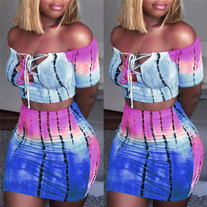 Hot Sexy Frauen 2 Stück Bodycon Kleidung Sets Schulterfrei Tops Lace Up Short Neck Crop Tops Röcke Gestreifte Club Wear Sets