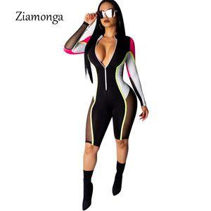 Ziamonga Bodycon Sexy Jumpsuit Shorts Para As Mulheres de Manga Longa Macacão de Fitness Mulheres Macacão Feminino Streetwear Playsuit Mulheres