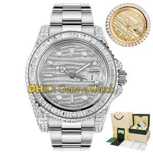 New Limited Edition 40MM Luxo GMT Batman 116769 116769TBR-74779B Designer relógios Movimento de diamante completa Beze Automático Pulseira Mens Watch