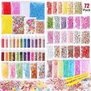 72 Pack / Set Slime Stuff Charms gehören Floam Balls Glitter Kuchen Blume Obst Scheiben Goldfischglas Perlen DIY Slime Party Dekoration Spielzeug