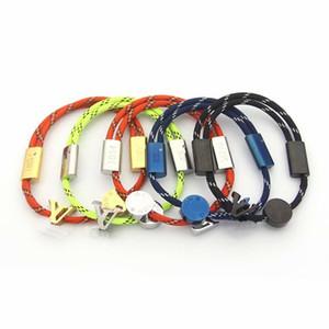 Стиль бренда Названы Браслеты Lady Pull-типа двойной цвет нейлоновый шнур Веревка браслет с 18K позолоченный V Письмо Круглый диск Подвески