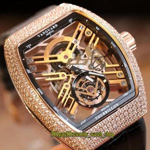 New Saratoge Vanguard V 45 T SQT oco Skeleton Dial Diamonds Japão Miyota Automatic Mens Watch Rosa de Ouro Capa de Couro Strap Esporte Relógios