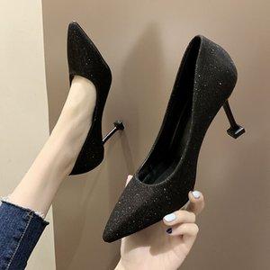 20200525 французских девушек на высоких каблуках женская сексуальная весна и лето новый заостренный тонкий каблук легкий рот черный универсальный профессиональный Singl