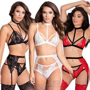 Das mulheres novas Sexy Lingerie Babydoll Sleepwear Underwear Lace Black Dress Set