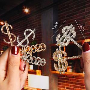 Клипы Новый дизайн Кристалл Rhinestone Письмо волос Золото Шпилька Алмазные 2020 Слова Barrettes моды $$$$ Челка клип Женщина Присоединение волос