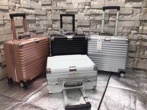 100% Металл Камера из алюминиевого сплава Карри-Ons Роллинг багажа Чемодан Высокопрочная сумка TSA Unlock Silver 20 24 26 29Inch