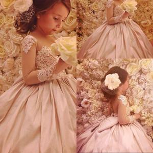 Прекрасные Elegant 2020 девушки цветка платья для мантии шарика Свадьбы длинным рукавом Кружева Детские Длинные платья для первой евхаристии для маленьких девочек