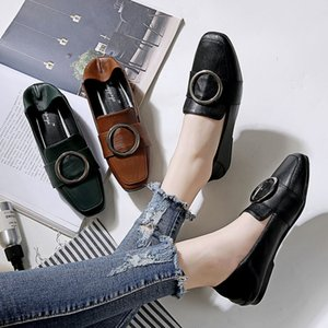 Korean Brand slip on lazy shoes women espadrilles buckle belt mules casual pregnant flat moccasins square toe metal ring creeper