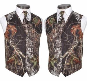 2020 New Real Camo Wedding Gilet Vest sposo foglie degli alberi Tronco di primavera mimetico slim fit uomo Gilet insieme delle 2 parti (Vest + Tie)