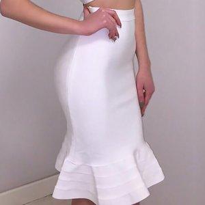 BEAUKEY Moda Branca Fishtail Bandage saia de cintura alta da sereia saia Trumpet Atacado XL Y200326