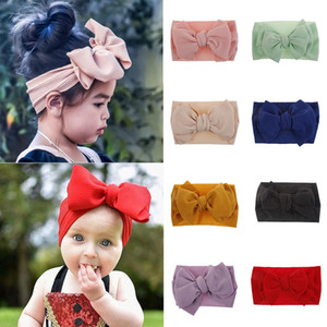 Elastik Big Bow Headwrap kız Kafa üstü Knot Bantlar Üzeri Bow Saç Turban çocukları Kafa Bandı Kız Büyük Saç Yaylar Ölçekli